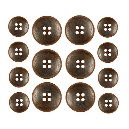 Bezelry Antique Copper Concave Metal Hole Blazer Button Set. 6 Pcs of 23mm, 8 Pcs of 15mm