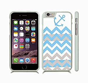 iStar Cases? iPhone 6 Plus Case with Chevron Sky Blue/ Grey Zig Zag Stripe Pattern W/ Anchor , Snap-on Cover, Hard Carrying Case (White)