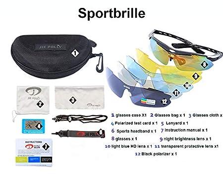 Fahrradbrille Herren und Damen Sonnenbrille UV400 Sonnenschutz mit 3 Wechselgl/äsern polarisierte Linse Sportbrille f/ür Outdooraktivit/äten wie Radfahren Laufen Angeln Klettern Radsport Brillen AA