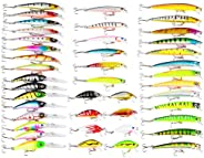 RoseFlower Mixed Fishing Lures, kit of Metal Hard Minnow Lures, Life-Like Fishing Baits, Suitable for Kinds of