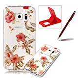 Glitter Clear Case for Samsung Galaxy S6 Edge,Crystal TPU Cover for Samsung Galaxy S6 Edge,Herzzer Ultra Slim Creative [Colorful Pattern] Bling Sparkly IMD Design Shock-Absorbing Soft Silicone Gel Bumper Cover Flexible TPU Transparent Skin Protective Case for Samsung Galaxy S6 Edge + 1 x Free Red Cellphone Kickstand + 1 x Free Claret-Red Stylus Pen