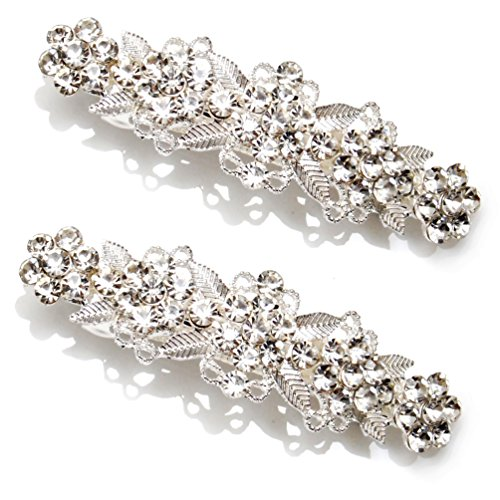 Luxxii - Clear Fancy Rhinestone Crystal Hair Barrette Clip Hair Pin (Pack 2, Silver Tone_A)
