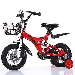 Bicicletas Eléctricas niños Cochecito de bebé de 2 a 8 años Pedales para niños Deportiva para niños (Color : Red, Size : 12Inch)
