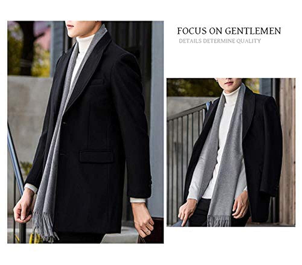 Homme Manteau Laine Hiver Long Trench-Coat Chaud Slim Fit Coup-Vent Casual Classique Noir