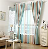 ZWB Fashionable Rod Pocket Striped Window Sheer Curtains with Wide Blue Yellow and Brown Stripe for Living Room/Sliding Glass Door/French Doors Rod Pocket Process 2 Panels W52 x L63 Inch