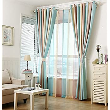 ZWB Fashionable Rod Pocket Striped Window Sheer Curtains With Wide Blue Yellow And Brown Stripe For