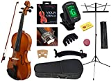 YMC 4/4 Full Size Handcrafted Solid Wood Student Violin Starter Kits (w/ Hard Case, Bow, Music Stand, Electronic Tuner, Bow Collimator, Shoulder Rest, Mute, Extra Strings, Polish Cloth, Rosin) Natural