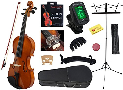 YMC 4/4 Full Size Handcrafted Solid Wood Student Violin Starter Kits (w/ Hard Case, Bow, Music Stand, Electronic Tuner, Bow Collimator, Shoulder Rest, Mute, Extra Strings, Polish Cloth, Rosin) Natural by YMC