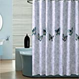 IMIEE Waterproof Fabric Polyester Shower Curtains with Butterfly Design,72 x 72 inch with 12 Hooks ()