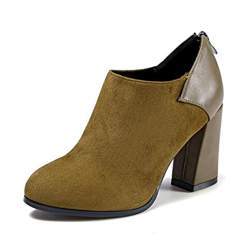 KHSKX-The Green Of The Korean Version Of The 8.5Cm Thick With High-Heeled Boots Winter New Round Head Satin Stitching And Zipper Boots And Bare Boots Female Tide 36 24Lgq
