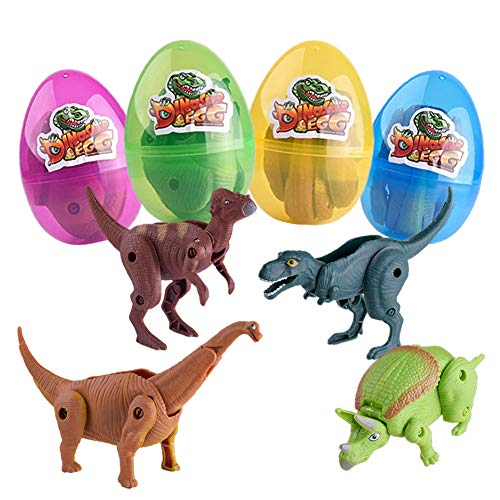 UNGLINGA Dinosaur Toys Filled Easter Eggs Hunting Easter Basket Stuffers Decorations for Kids Boys Girls (3.5 inch Pack of 4)