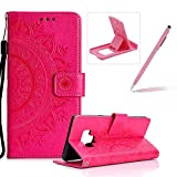 Strap Leather Case for Samsung Galaxy J7 2018,Hot Pink Wallet Cover for Samsung Galaxy J7 2018,Herzzer Classic Retro Pretty Mandala Flower Embossed Magnetic Closure Stand Shockproof Flip PU Leather Back Case with Soft Silicone