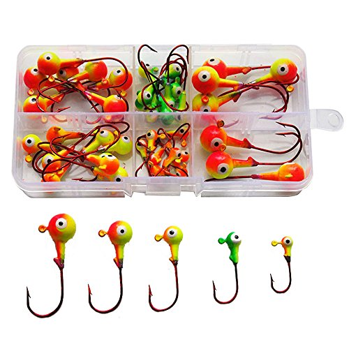 46Pcs Assorted Jig Head Hooks Fishing Hooks Tackle Box Kit - Total 211g in A Free Handy Box (Assorted Jig Heads)
