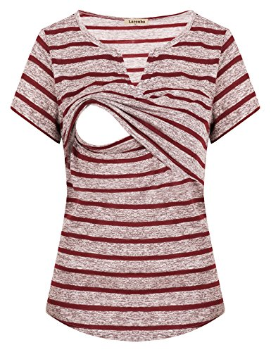 Larenba Nursing Sleep Shirt, Women Maternity Short Sleeve Feeding Blouse Pull up Prime Pregnancy Breastfeeding Clothes Relaxed Fit Loung Wear House Stripe Nursing Top(Wine Red,Medium)