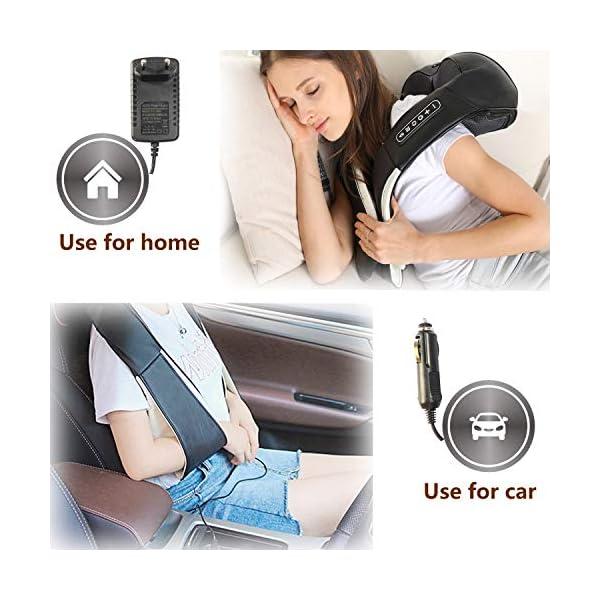 UKEER Massaggiatore Cervicale e da Collo, 3D Shiatsu Massaggiatore per Collo e Spalle rullo massaggio muscolare Con… 6 spesavip