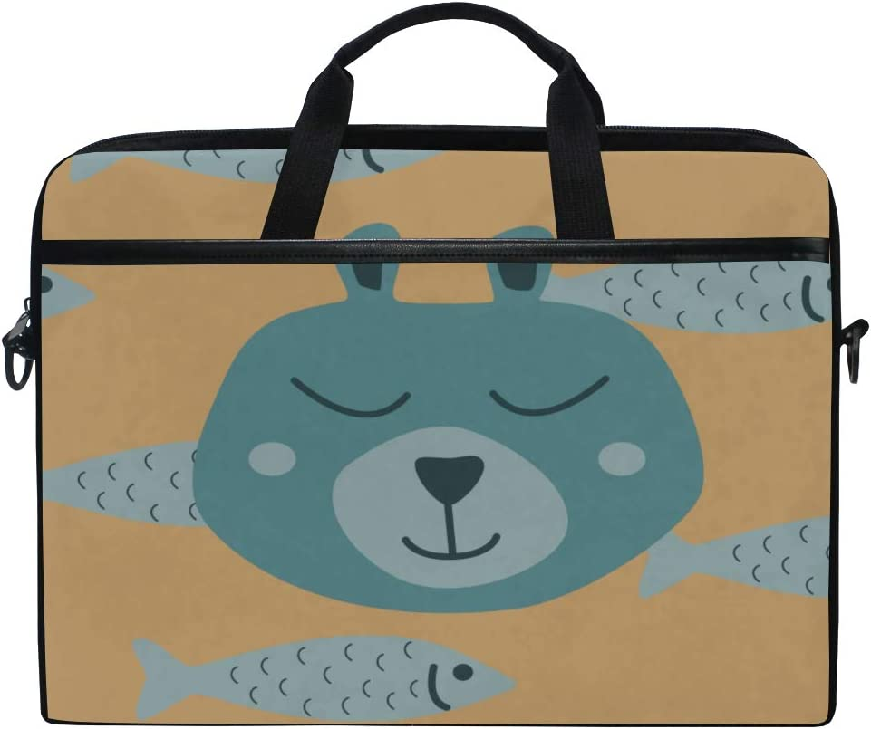 College Students Business People Offi Briefcase Messenger Shoulder Bag for Men Women Laptop Bag Bear Dreams Fish Head Bear 15-15.4 Inch Laptop Case