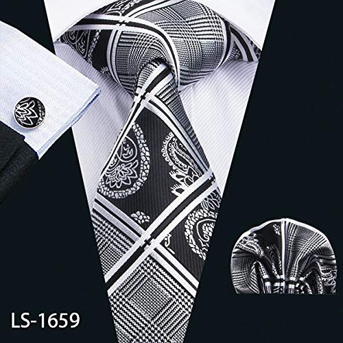 - Graven LS-1199 Mens Ties Fshion Plaid 100% Silk Barry.Wang Jacquard Woven Necktie Hanky Cufflink Set Ties for Men Formal Wedding Party - (Color: LS-1659)