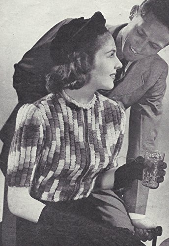 Vintage Knitting PATTERN to make - 40s Zip Front Textured Cardigan Sweater Jacket. NOT a finished item. This is a pattern and/or instructions to make the item - Vintage 1940s Patterns Knitting