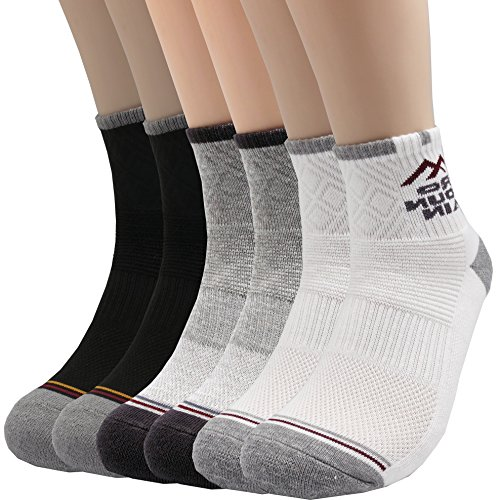 Pro Mountain Cotton Quarter Ankle Cushion All Day Hiking Athletic Sports Socks (L(US Men Shoe Size 9~11), 3color Assorted 6pairs Pack L-size) - Made Cushion Sole Socks