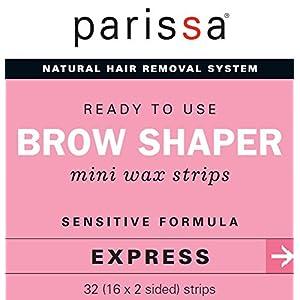 Parissa Brow Shaper Mini Wax Strips, Waxing Strips for Hair Removal Waxing Brow & Facial, 32 Strips