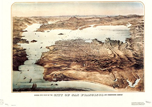 Historic Map Reproductions - Historic Map | San Francisco, California 1868 1976 | Birds eye view of the city of San Francisco and surrounding country | Antique Vintage Reproduction 24in x 16in