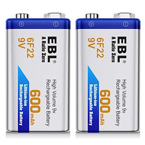 EBL 600mAh 9 Volt Li-ion Rechargeable 9V Batteries Lithium-ion, 2 Pack