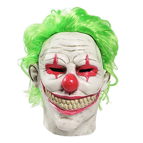 Very Halloween Costumes Easy (Halloween Mask Latex Scary Clown Head Mask Halloween Costume Party Props Masks for Adults (green hair clown)