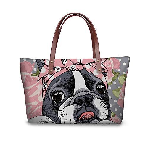 (Pink Women Tote Boston Terrier Cartoon Shoulder Bags Ladies Satchel Waterproof)