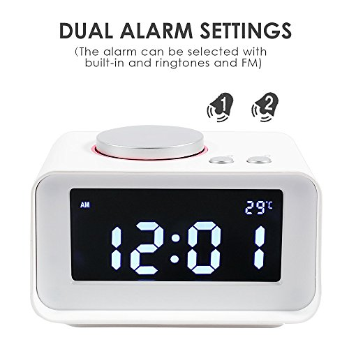 Alarm Clock, IMOO Multi-function FM radio Alarm Clock Indoor Thermometer,Dual USB port,AUX function ,connect to MP3,MP4,PDA,Computer,(White)