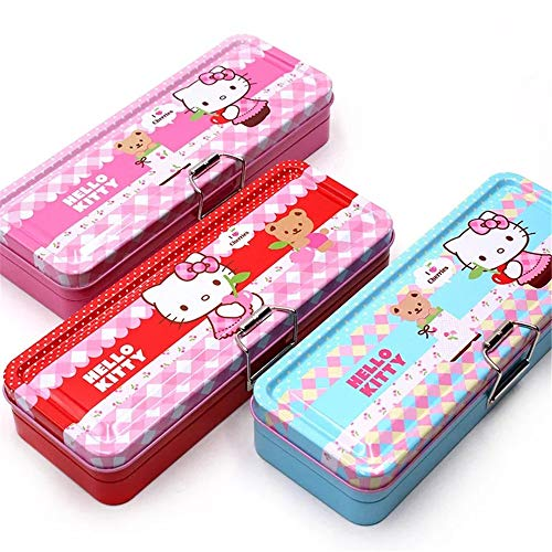 Hello Kitty Girl Pencil Tin Box Two Layer Cute Cartoon Pencil Case Pink Red (Red)
