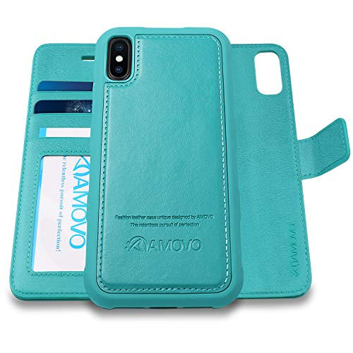 [Upgraded Version] AMOVO Case for iPhone Xs Max [2 in 1] iPhone Xs Max Wallet Case Detachable [Wireless Charger] [Vegan Leather] iPhone Xs Max Flip Case with Gift Box Package (XS MAX (6.5'') Aqua) - Womens Apple Wallet