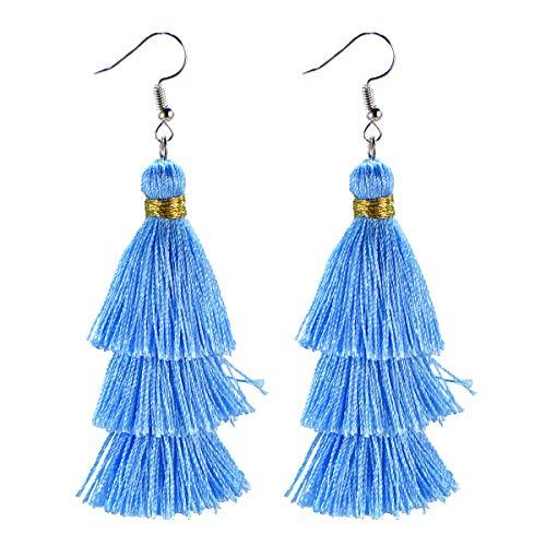 AD Beads Fashion Charm Crystal Silk Tassel 3 Layers Fan Fringe Dangle Earrings (18 Light Blue)