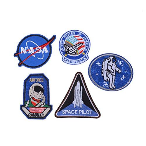 LIGONG NASA Logo Insignia National Aeronautics and Space Explorer Embroidered Applique Iron on Patches,5 Pieces -