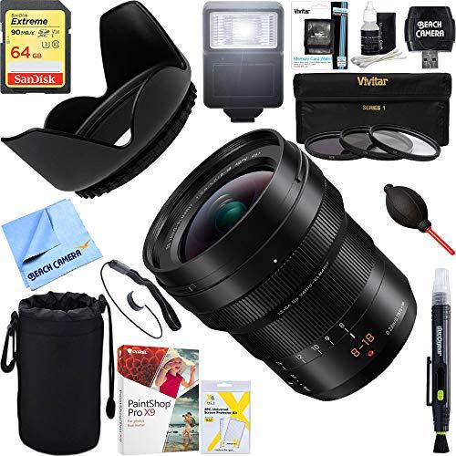 Beach Camera Panasonic LUMIX G Leica DG Vario-ELMARIT MIRRORLESS Lens, 8-18MM, F2.8-4.0 ASPH (H-E08018) + 64GB Ultimate Filter & Flash Photography Bundle
