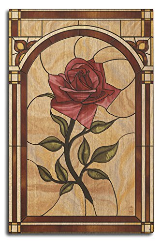 Lantern Press Rose Stained Glass (10x15 Wood Wall Sign, Wall Decor Ready to Hang)
