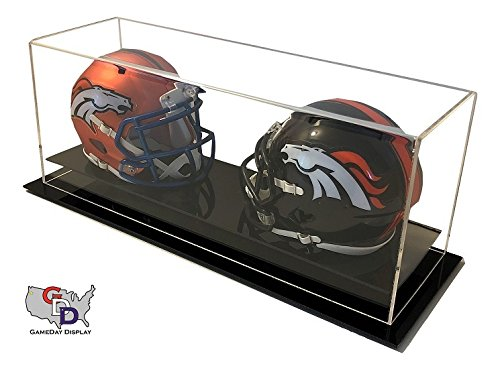 Double Helmet - GameDay Display Acrylic Desk or Table Top Double Mini Helmet Display Case by