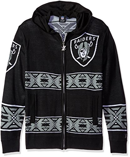 Oakland Raiders Full Zip Hooded Sweater Large