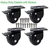 DICASAL Heavy Duty Casters, 3'' Swivel Plate Caster Wheels with Brake Premium Commercial Grade Non-Marking Durable Nylon castors with 2000 lbs Capacity 4 Pack