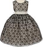 Little Girls Lace Taffeta Jeweled Belt Sash Flowers Girls Dresses -  -