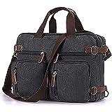 Convertible Laptop Backpack Vintage Messenger Bag Shoulder Bag Canvas Handbag Computer Bag Business Briefcase Multi-Functional Cross Body Bag Fits 17.3 inch Laptop for Men/Women (17.3, Black)