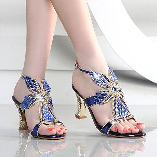 donne HBDLH l'esercitazione i piedi dei sandali estate secondo tacchi le i tacchi spesso 5cm Golden tacchi dita i AwBqAF