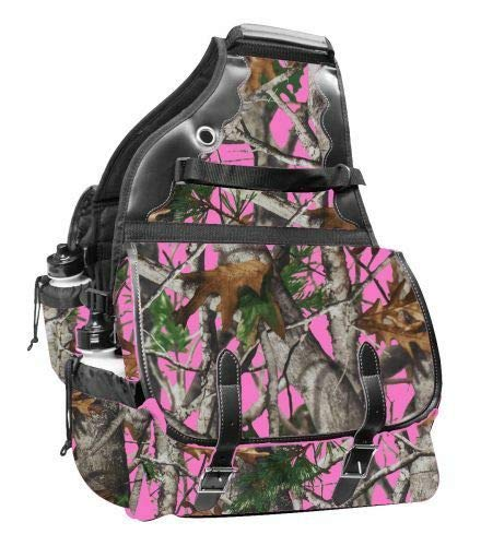 Showman Real Oak Print 600 Denier Deluxe Insulated Saddle Bags Horse Tack(Pink)