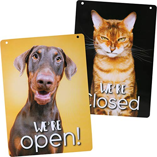 (Pet Friendly Open/Closed Sign (Double Sided) - Lightweight & Waterproof Store Sign - Decorative Open Closed Sign for Business Welcome Sign (8.25