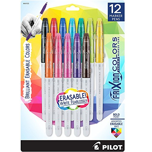 Pilot FriXion Colors Erasable Marker Pen Bold Point (1.) Assorted Ink 12-pk; Too Much, Uneven, or The Wrong Color of Marker? Make Mistakes Disappear with Americas #1 Selling Pen Brand