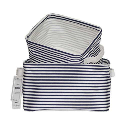 YOUOR Linen Cotton Fabric Foldable Storage Bins Basket Organizer for Shelves & Desks - Set of 2 (Navy Blue) (Blue Nursery Decor)