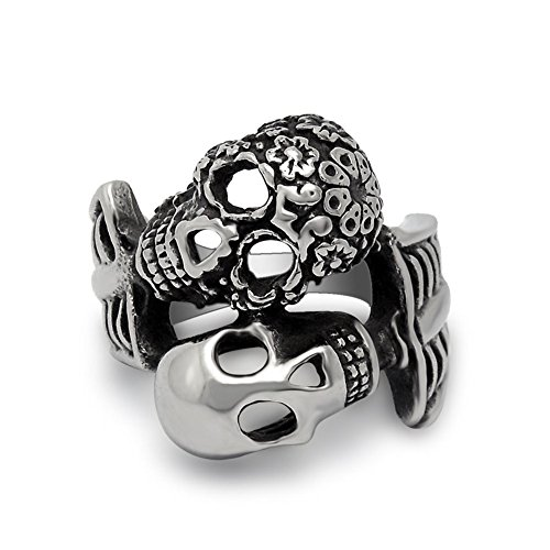 JAJAFOOK Double Skulls Patterned Smooth Vintage Titanium Stainless Steel Ring Men Jewelry Skull Ring