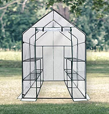 "Walk-In Portable Greenhouse - 6 Tiers 12 Racks - Green House Kit Includes Plant Labels, Guy Ropes, Stakes, Zip Ties to Secure Your Greenhouse. Dimensions 56"" Length x 56"" Width x 78"" Height"