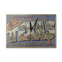Fredericksburg, Texas - Greetings From The Lone Star State - Large Letters - Postcard (10x15 Wood Wall Clock, Decor Ready to Hang)