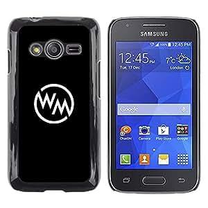 Caucho caso de Shell duro de la cubierta de accesorios de protección BY RAYDREAMMM - Samsung Galaxy Ace 4 G313 SM-G313F - Logo Black White Minimalist