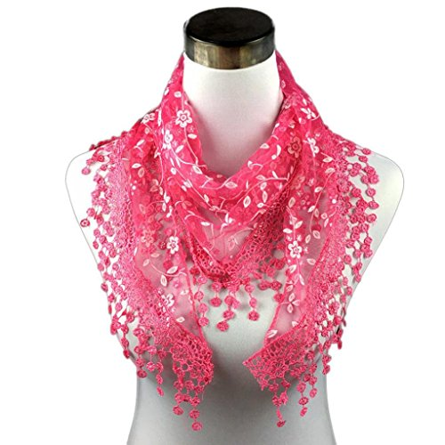 Miklan Elegant Lightweight Leaf Lace Embroidered Floral Tassel Sheer Gentle and Soft Triangle Mantilla Scarf Shawl for Ladies (Hot Pink)